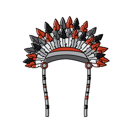 War bonnet spears feather native accessories  illustration black image.