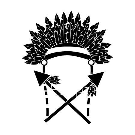 war bonnet spears feather native accessories vector illustration black image