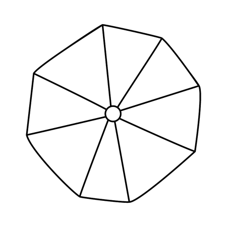 opened beach umbrella top view vector illustration outline image Illustration