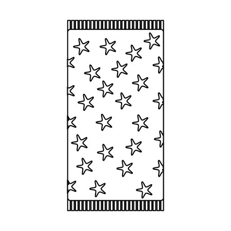 beach towel with stars top view isolated on white background vector illustration outline image