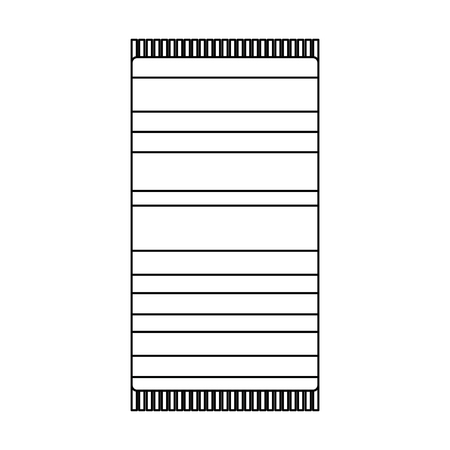 beach towel with stripes top view isolated on white background vector illustration outline image Ilustração