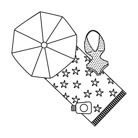 beach umbrella swimsuit and sunblock bottle vector illustration outline image Illustration