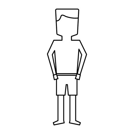 standing man cartoon with swimsuit vector illustration outline image