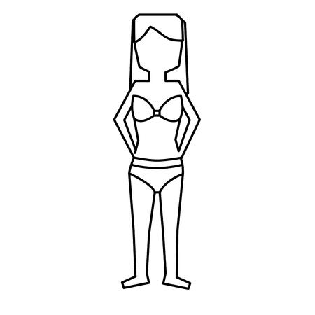 vrouw stond met bikini badpak vector illustratie overzicht afbeelding Stock Illustratie