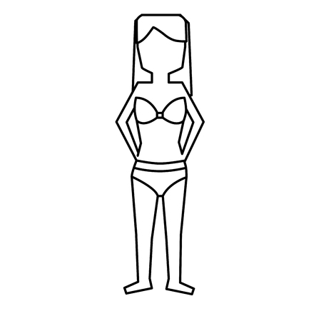 woman standing with bikini swimsuit vector illustration outline image