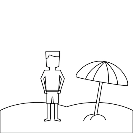 beach tropical man standign with open umbrella vector illustration outline image