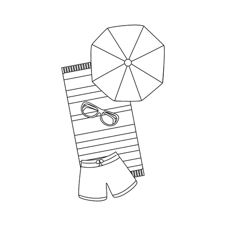 beach umbrella swimsuit sunglasses and towel vector illustration outline image