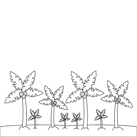 beach palm tree tropical landscape vector illustration outline image