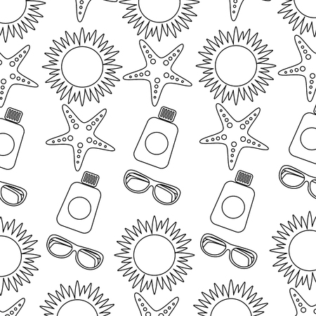 beach vacations sun sunglasses sunblock bottle starfish pattern vector illustration