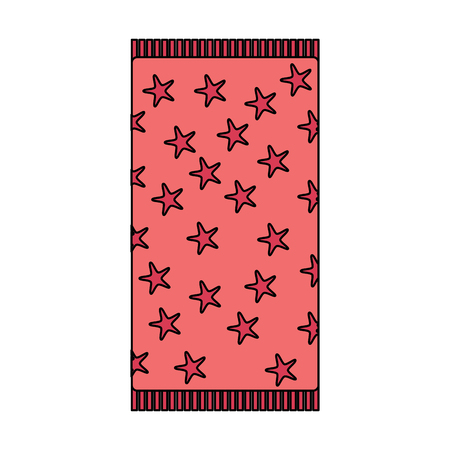 beach towel with stars top view isolated on white background vector illustration