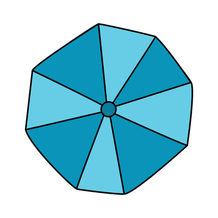 opened beach umbrella top view vector illustration