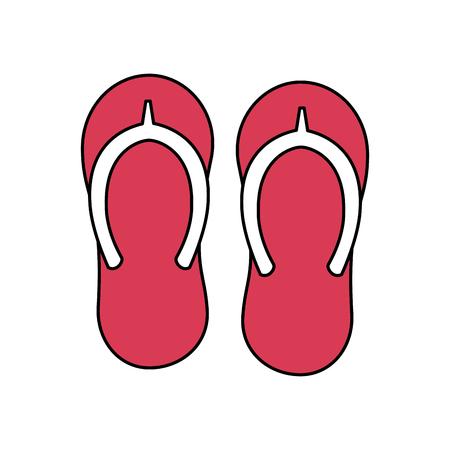 beach pair flip flops accessories icon vector illustration