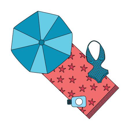 beach umbrella swimsuit and sunblock bottle vector illustration Illustration