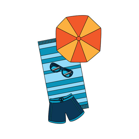 beach umbrella swimsuit sunglasses and towel vector illustration