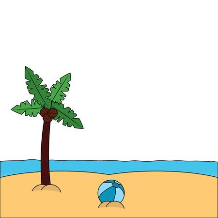 beach palm tree ball sand sea image vector illustration Иллюстрация