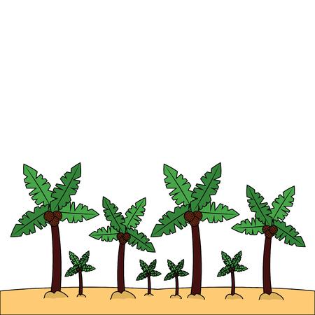 beach palm tree tropical landscape vector illustration