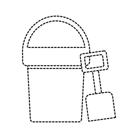 beach bucket and shovel toy plastic vector illustration
