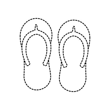 A beach pair flip flops accessories icon vector illustration  イラスト・ベクター素材