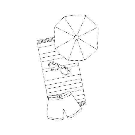 A beach umbrella swimsuit sunglasses and towel vector illustration
