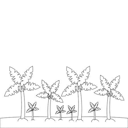 Een tropische het landschaps vectorillustratie van de strandpalm