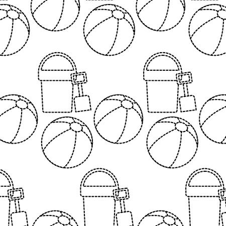 해변 공 양동이 삽으로 장난감 액세서리 휴가 패턴 벡터 일러스트 레이션