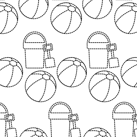 A beach ball bucket shovel toy accessories vacation pattern vector illustration