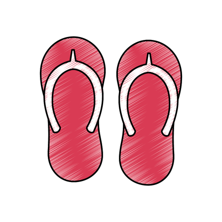 beach pair flip flops accessories icon vector illustration drawing image