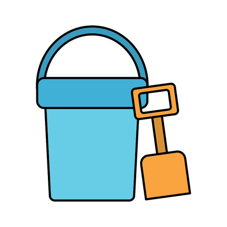 A beach bucket and shovel toy plastic vector illustration Illustration