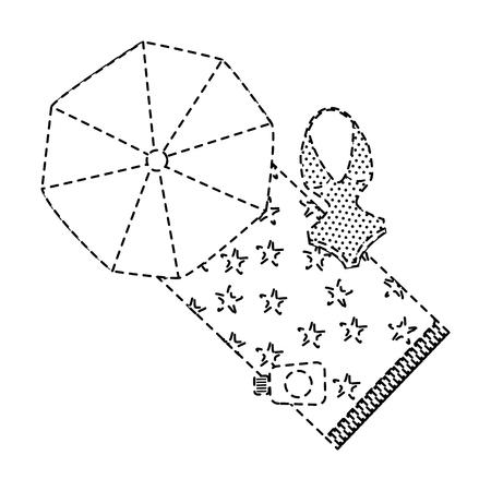 strandparasol badpak en sunblock fles vector illustratie Stock Illustratie