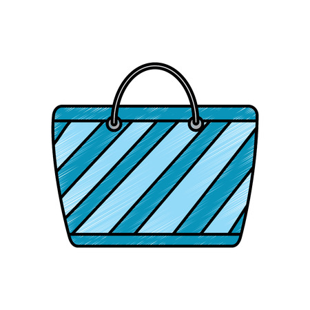 cartoon striped beach bag accessory vector illustration drawing image