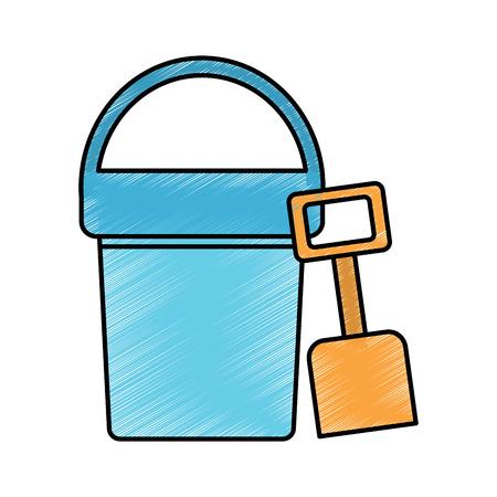 beach bucket and shovel toy plastic vector illustration drawing image Çizim