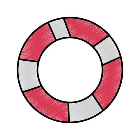벡터 일러스트 레이 션 드로잉 이미지를 수영하는 것에 대 한 lifebuoy 보호 장비