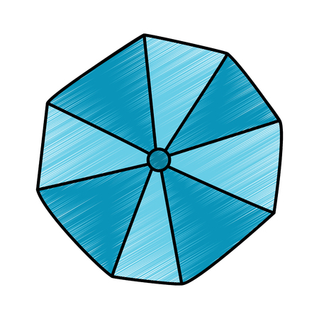 opened beach umbrella top view vector illustration drawing image