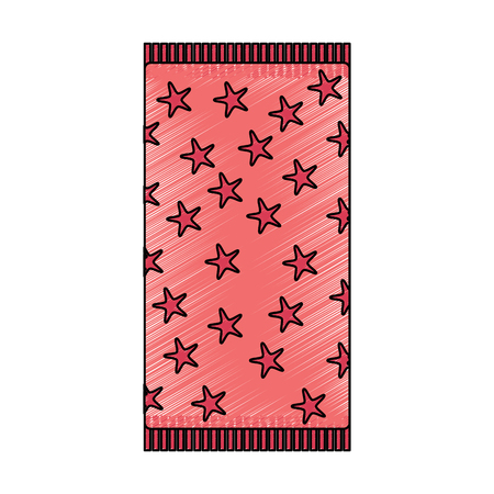 beach towel with stars top view isolated on white background vector illustration drawing image Vettoriali
