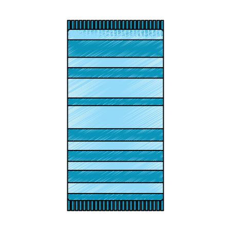 白い背景ベクトルイラスト描画画像に隔離されたストライプトップビュー付きビーチタオル