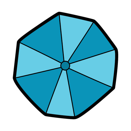 AN opened beach umbrella top view vector illustration