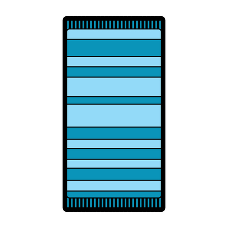 A beach towel with stripes top view isolated on white background vector illustration