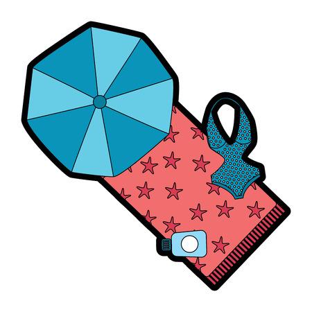 A beach umbrella swimsuit and sunblock bottle vector illustration