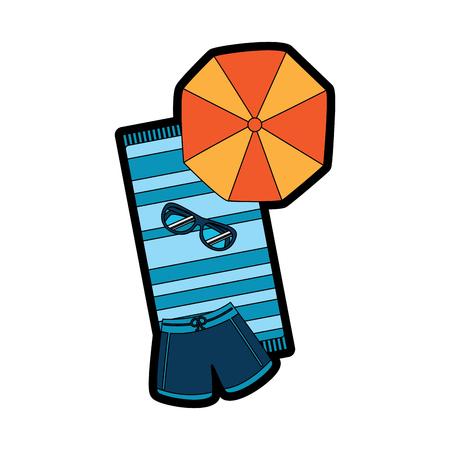비치 우산 수영복 선글라스와 수건 벡터 일러스트 레이션