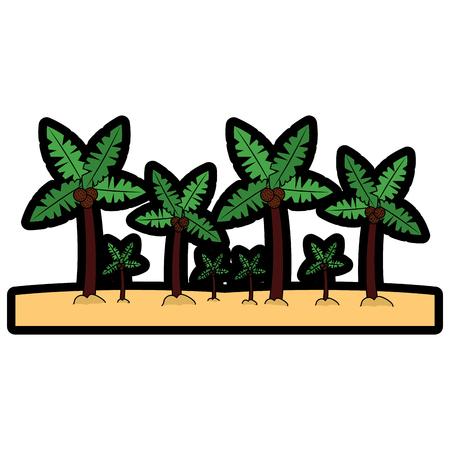 A beach palm tree tropical landscape vector illustration