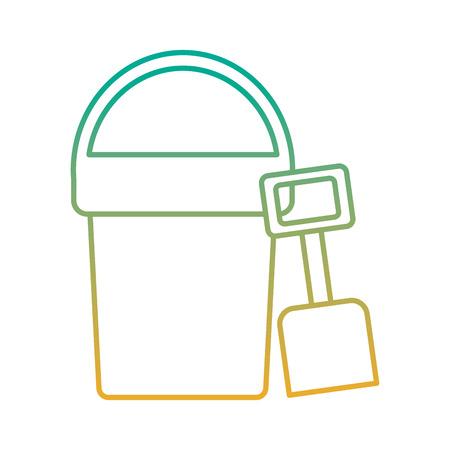 Een strandemmer en schopstuk speelgoed plastic vectorillustratie