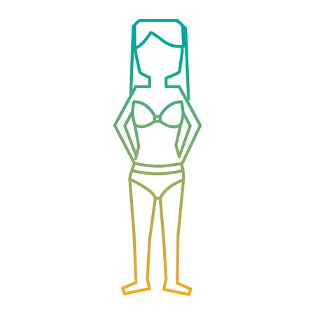A woman standing with bikini swimsuit vector illustration