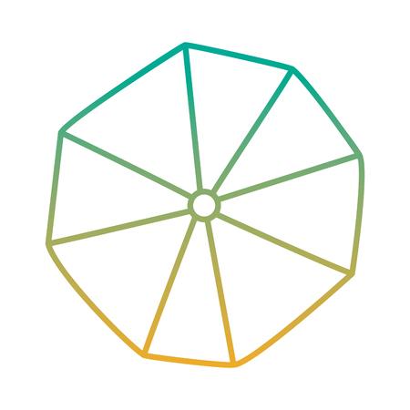 Een geopende bovenaanzicht vectorillustratie van de strandparaplu