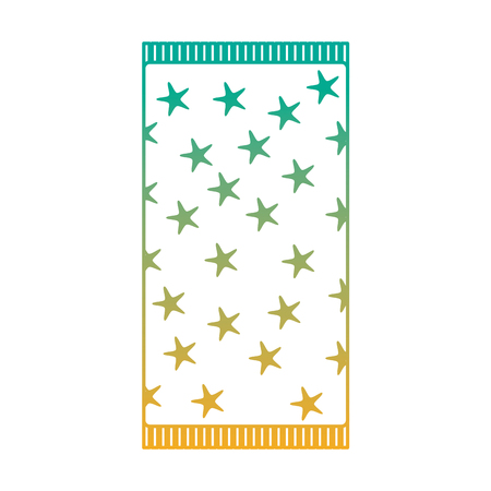 A beach towel with stars top view isolated on white background vector illustration