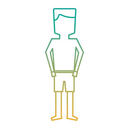 수영복 일러스트레이션에 서있는 남자 만화