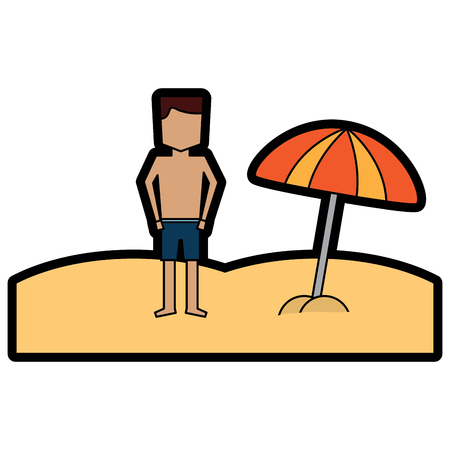 A beach tropical man standing with open umbrella vector illustration