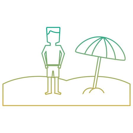 Un homme tropical plage debout avec parapluie ouvert illustration vectorielle Banque d'images - 91582489