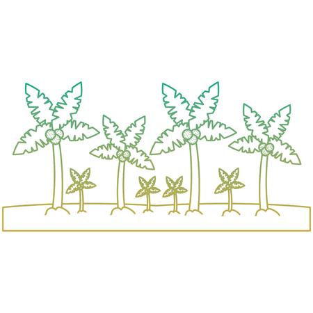 ビーチヤシの木熱帯風景ベクトルイラスト
