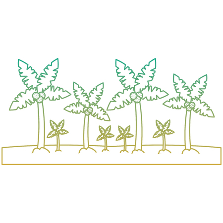 A beach palm tree tropical landscape vector illustration