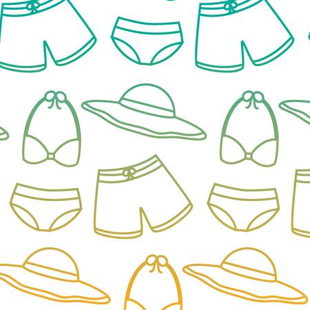 A swimsuits short bikini and hat vacation beach fashion vector illustration